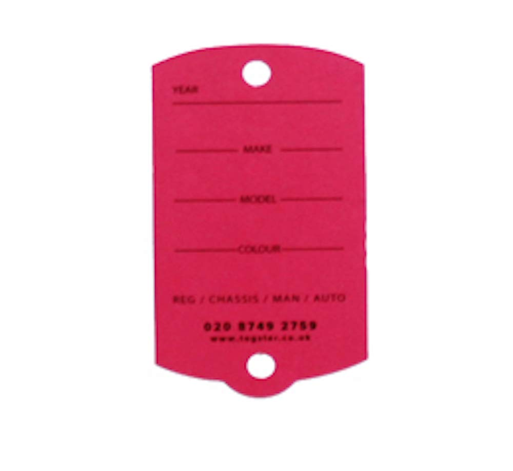 Key tags - Biodegradable Cardboard Vehicle key tags (200) with metal rings - Blue Tagster .