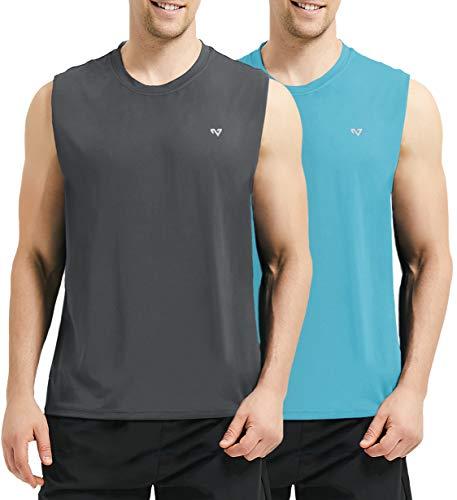 (Roadbox Men's 2 Pack Performance Sleeveless Workout Muscle Bodybuilding Shirt Athletic Running Quick-Dry T-Shirt(XL,Grey&Bright Blue))