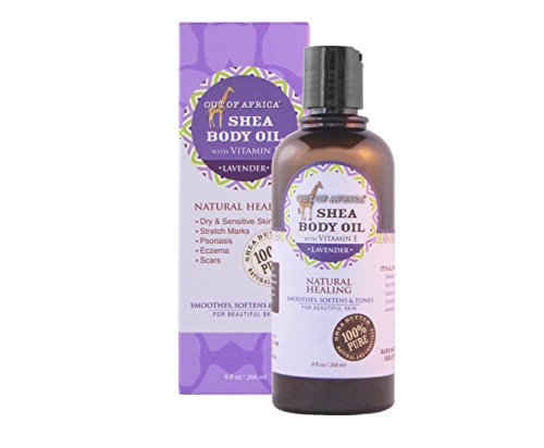 Out of Africa – 100% Natural Moisturizing Body Oil with Organic Shea Butter and Vitamin E, For Radiant, Healthy, and Glowing Skin - Calming Lavender, 9 Ounce