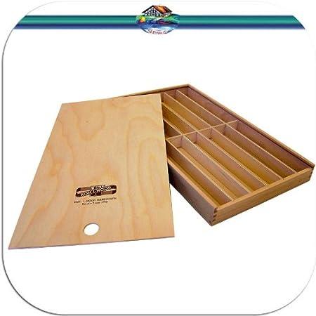 Koh-I-Noor Caja de Madera correderas Madera Caja para lápices Pinceles lápices etc. Estuche Caja Caja – Portalápices