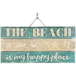 "Imprints Plus Slatted Pallet Wood Sign - 6"" x 12"" Rustic Farmhouse Wall Decor Hand Assembled with Pine Wood - Includes Hanging Hardware and Instructional Card [Beach is My Happy Place] [46-01645.]"