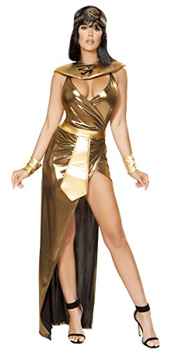Musotica Sexy Elizabeth Taylor Cleopatra Gold Dress with Accessories - Gold - Large