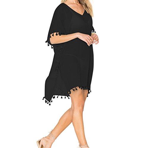 nero Donna collo Oversized sciolto Copricostumi V Group Stile Bikini 4 SiDiOU Spiaggia qC1wRg6Cx