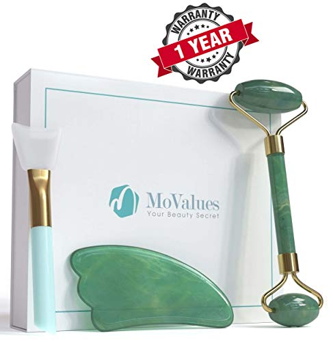 Green Jade Set - Original Jade Roller and Gua Sha Tools Set - Jade Roller for Face - Real 100% Jade - Face Roller for Wrinkles, Anti Aging - Authentic, Durable, Natural, No Squeaks - with Mask Brush