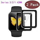 EcoPestuGo Compatible [2 Pack] Apple Watch 42mm Tempered Glass Screen Protector, EcoPestuGo(Black) Anti-Scratch Full Coverage Scratch-Proof Screen Film Compatible iWatch 42mm Series 1/2/3