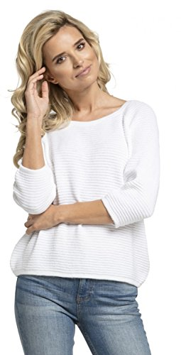 Chelsea Clark. Donna Maglione Top Maglia Zip Posteriore Maniche a 3/4. 488z Bianco