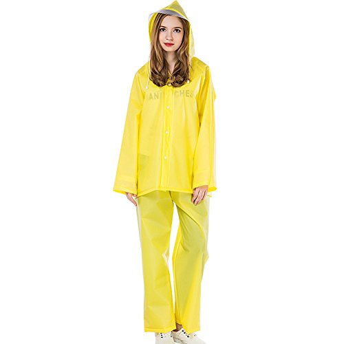 KARRESLY Motorcycle Ultra-Lite Rain Suit Waterproof Hooded Rainwear Jacket & Trouser Suit for Unisex Adult(Yellow-L)