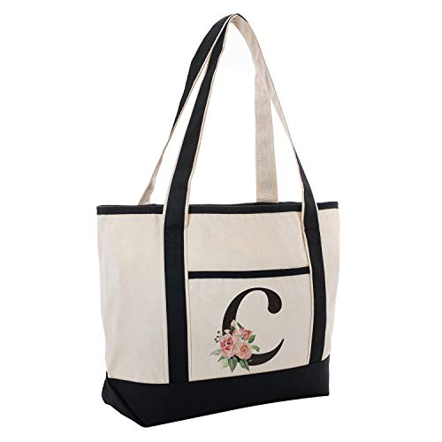Black Linen Canvas Tote Bag Floral Initial For Beach Workout Yoga Vacation C (Floral Beach Bag)