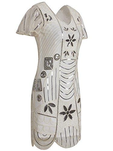 Vikoros - Vestido - Noche - Paisley - Manga corta - para mujer White Silver