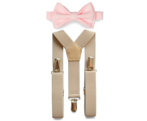 Tan Suspenders & Bow Tie Set for Baby Toddler Boy Teen Men (2. Toddler (18 mo - 6 yrs), Tan Suspenders, Blush Bow Tie) -
