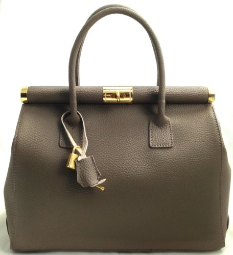 leather Elegant handles Satchel 35x28x16cm Made Woman Bag in Italy strap Mud shoulder Genuine and by Beige with CTM 71AHn