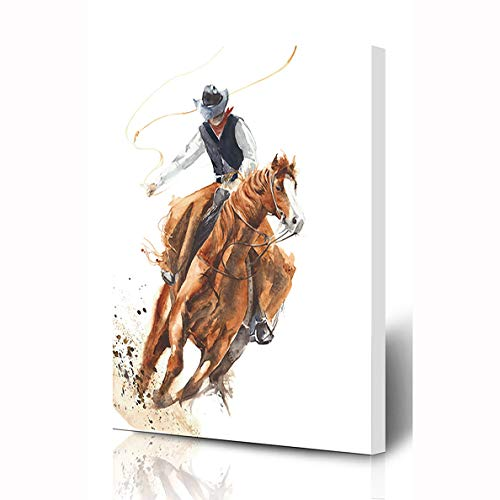 Ahawoso Canvas Prints Wall Art 12x16 Inches Style Watercolor Western Cowboy Riding Horse Ride Culture Calf Roping Rodeo Vintage Design Farm Wooden Frame Printing Home Living Room Office Bedroom