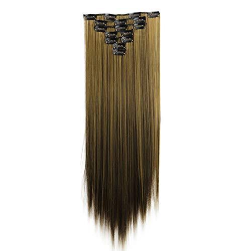 Weiweidain 1Pc 16 Clips In Hair Extensions Piece Long Straight Hair Chemical Fiber -