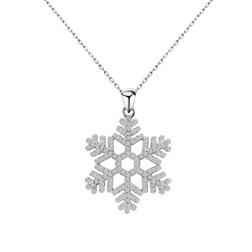 EleQueen 925 Sterling Silver Full Pave Cubic Zirconia Winter Snowflake Bridal Pendant Necklace