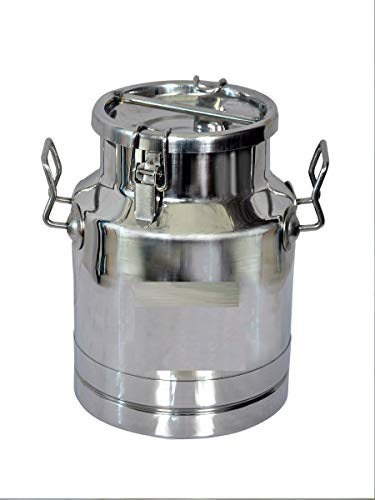 CORPORATE OVERSEAS Stainless Steel Grade 304 Locking Milk Can Container  10 L, Silver