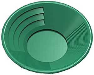 """SE GP1014G14 14"""" Green Plastic Gold Pan with Two Types of Riffles"""