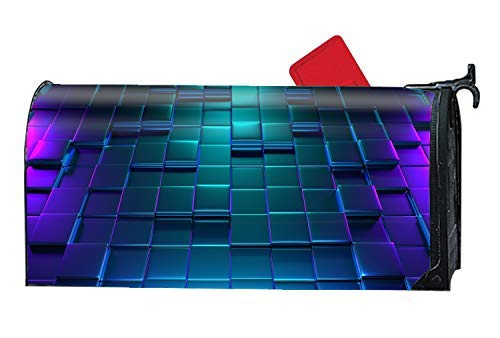 Tollyee Neon Cubes Reflection Custom Magnetic Mailbox Cover Mail Wrap Large Mailboxes Magnetic Mailbox Cover 9