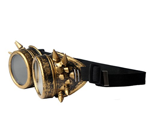 FUT ABS Spiked Steampunk Goggles Glasses Cosplay Costume Props (Brass) by FUT (Image #2)
