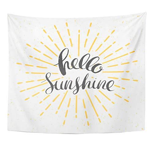 Plbfgfcover Design Yellow Burst Hello Sunshine Vintage Sunburst and Sun Creative Home Decor Wall Hanging Tapestry ()