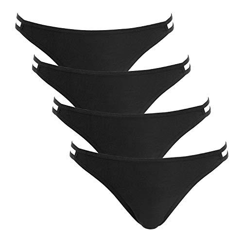ATTRACO Cheeky Panties for Women 4-Pack String Stretch Bikini Panty Cotton XL