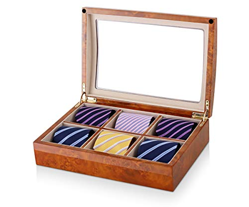 Tie Box for Men Nickties with Burl Wood Finish and Gift Box Included (Burl Wood + Peach)