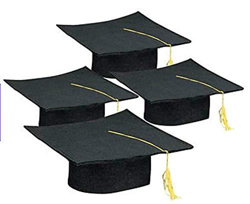 FX Graduation Hats, 12 Felt Graduation Caps (Black)
