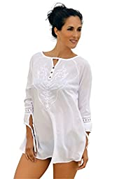 Cotton Natural Beach Cover Up Embroidered Fashion Summer Swim Tunic Cover Up (3X-Large)