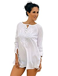 Cotton Natural Beach Cover Up Embroidered Fashion Summer Swim Tunic Cover Up