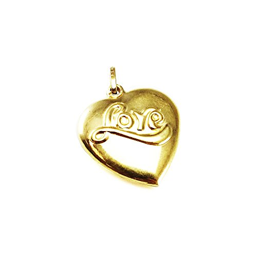 14k Yellow Gold Heart Love Charm Italian Gold 18mm (14kt Heart Gold Charm Italian)