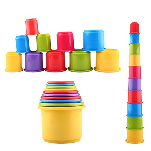 - eyscar Stacking Cups Early Educational Toddlers Toy Bathtub Toys with Numbers & Animals Game for Kids Baby 11 Pack (no Numbers)