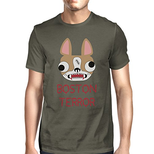 para Boston manga 365 corta Size Camiseta de Dark Grey One Terrier hombre Terror Printing RaAqwX