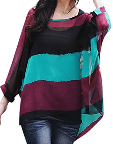 Womens Floral Batwing Sleeve Blouse