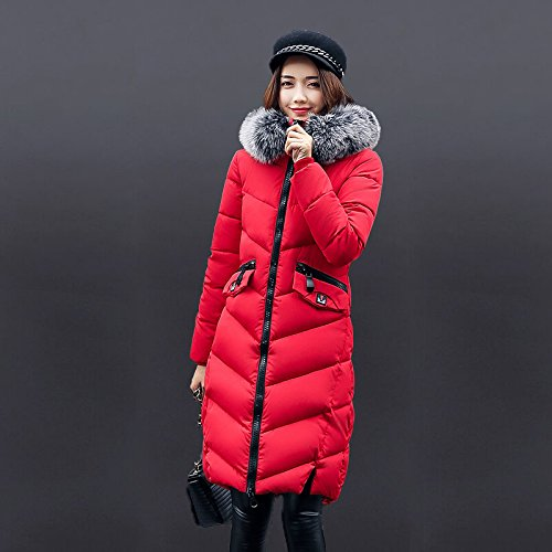 Zipper Big Red Solid size DYF Warm Color Loose Coat Hat Down Pocket Jacket XL 61q6UnSZ8