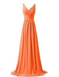 VaniaDress Women V Neck Chiffon Long Bridesmaid Dress Prom Evening Gowns V015LF