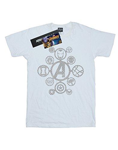 Marvel Distressed T per Infinity shirt Boy di War Avengers Metal bianca icone qq0TXr