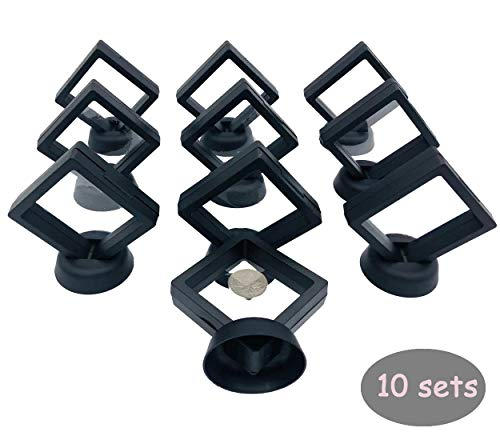 Sunshine 10 Pack Coin CHIP Display Stand Black Diamond Square AA Medallion Challenge Display Stand Magic Suspension Box 3D Floating Frame Jewelry Holder