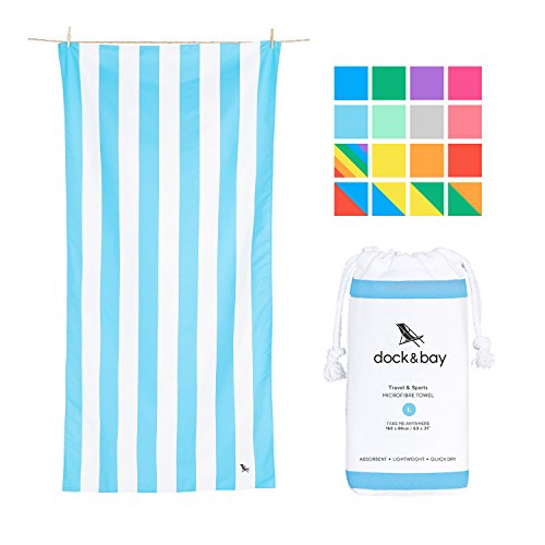Quick Dry Beach Towels Pastel - Tulum Blue, Large (160x80cm, 63x31) - Quick Dry Towel for Swimming, Pastel Beach Towel ()