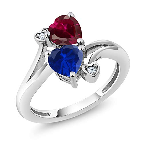 Blue Sapphire Ruby Ring - Gem Stone King 925 Sterling Silver Red Created Ruby and Blue Simulated Sapphire Women's Ring 1.79 Ctw (Size 9)