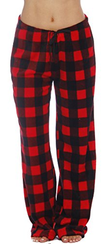 Just Love Women's Plush Pajama Pants, Medium, Buffalo Plaid Red (Flannel Pj Pants For Juniors)