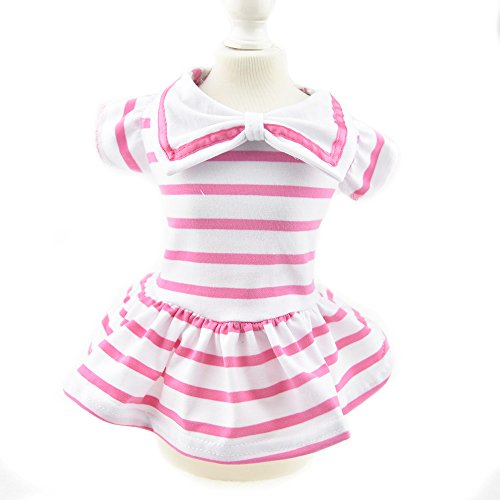Cute Strip Pet Clothes for Dog Dresses Vest Shirts Sundress Pink (S, Pink)