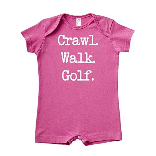 Baby Golf Golf Romper - Mashed Clothing Crawl. Walk. Golf. - Baby Romper (Raspberry 12 Months)