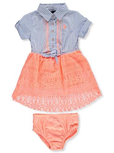 U.S. Polo Assn. Baby Girls Casual Dress, Woven Stripe lace Mix Melon 24M