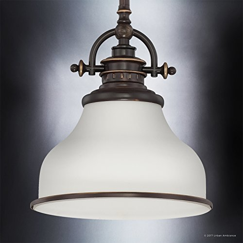Luxury Industrial Pendant Light, Small Size: 9.5''H x 8''W, with Americana Style Elements, Nostalgic Design, Oil Rubbed Parisian Bronze Finish and Opal Etched Glass, UQL2338 by Urban Ambiance by Urban Ambiance (Image #2)