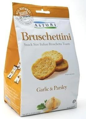 Asturi Garlic and Parsley Bruschettini (Snack Size Italian Bruschetta Toasts), Buy TWELVE Bags and SAVE, Each Bag is 4.23 oz (Pack of 12)