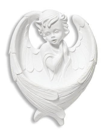 Adoring Cherub Angel White Resin Holy Water Font, 6 Inch