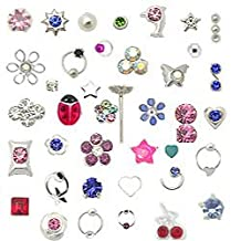 20 Pack Silver-Tone Nose Studs Rings Mixed Sizes 22G