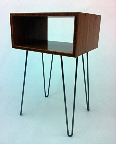 Mid Century Modern Open Bedside Side Table -Set of Two – Atomic Era Design In Caramelized Bamboo w/ Hairpin Legs