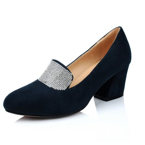 VogueZone009 Girls Closed Round Toe Mid Heel Frosted Solid Pumps with Glass Diamond Blue 1hnj7W7