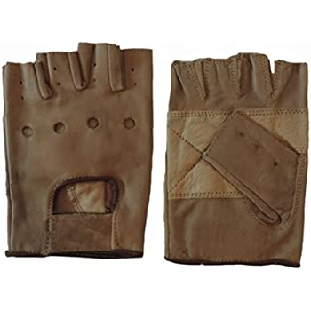 Open Knuckle Fingerless Brown Leather Motorcycle Gloves Large