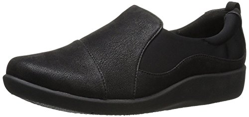 Clarks Women's CloudSteppers Sillian Paz Slip-On Loafer, Black Synthetic Nubuck, 6 M US